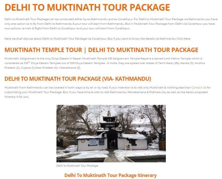 MUKTINATH TOUR PACKAGES FROM DELHI